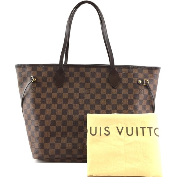 Louis Vuitton Handbags - Neverfull Mm Tote Brown Canvas Shoulder Bag